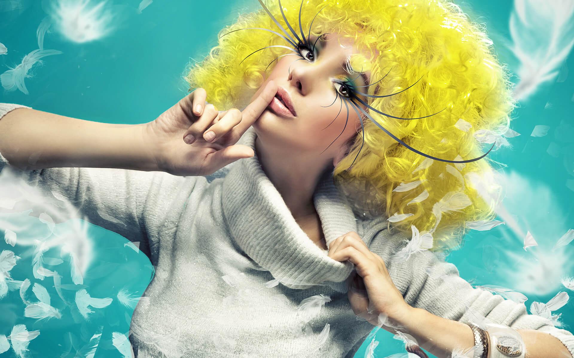 A yellow hair girl