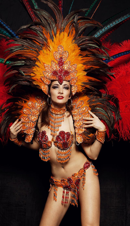 A girl in carnival costume